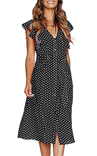 Angashion Women's Dresses-Short Sleeve V Neck Button T Shirt Midi Skater Dress with Pockets Black Dot S