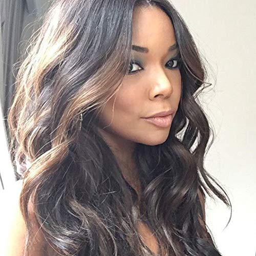 Human Hair Lace Front Wig Natural Wave Wigs with Baby Hair 100% Brazilian Virgin Hair Wave Wigs for Black Women 2 Tone Color 16 inch