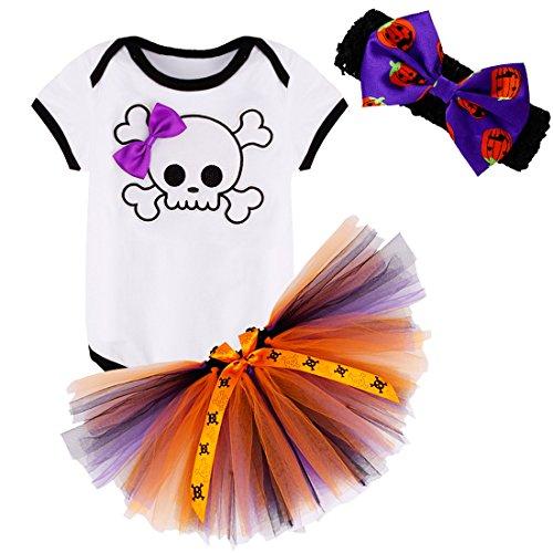 iiniim Infant Baby Girls 3PCS My 1st Halloween Outfits Romper with Tutu Skirt Headband Skull Skeleton Romper 6-9 (Halloween Pettiskirt Outfits)
