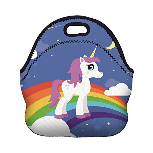 Violet Mist Neoprene Lunch Bag Tote Reusable Insulated Waterproof School Picnic Carrying Gourmet Lunchbox Container Organizer For Men, Women, Adults, Kids, Girls, Boys(unicorn&rainbow)