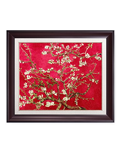 DECORARTS- Red Almond Blossom Tree, Vincent Van Gogh Classic Art, Giclee Print Framed Art for Wall Decor, Total with Framed Size: 28x24 ()