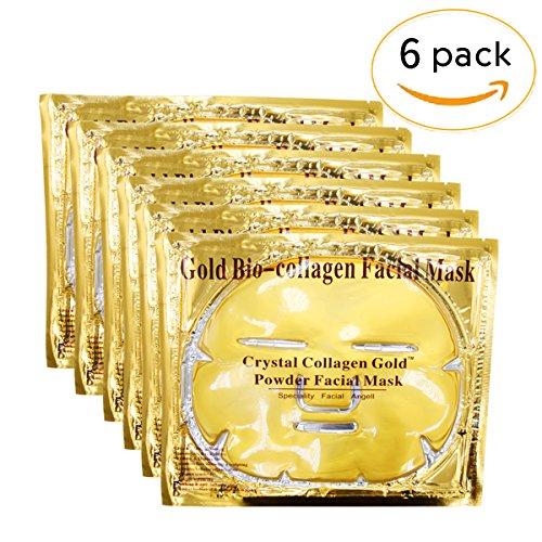 Rotus 6PCS 24K Gold Gel Collagen Crystal Facial Masks Sheet