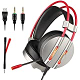 Gaming Headset, TecTri Stereo Gaming Headphones for PS4, Xbox One, PC, Nintendo Switch (Audio), Laptop with Mic, LED lights, Noise Canceling, Bass Surround, Volume Control, Over-Ear Headphone - Silver