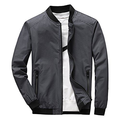 Earlish Men's Long Sleeve Slim Fit Lightweight Bike Motocycle Cotton Bomber Jacket, Dark Grey, (Mens Bomber Jacket)