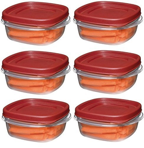 - Rubbermaid 1776401 1 1/4-Cup Easy Find Lid Food Storage Container, Square, 6 pack