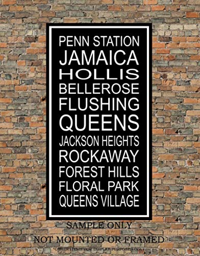 New York City Subway Sign Print - Jamaica, Flushing, Queens, Rockaway, Penn Station, Forest Hills - Multiple - Signs Subway Nyc