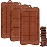 Silicone Break-Apart Chocolate, IHUIXINHE 3PCS Food Grade Non-Stick Protein and Energy Bar Mold