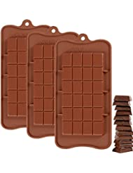 Silicone Break-Apart Chocolate, IHUIXINHE 3PCS Food Grade Non-Stick Protein and Energy Bar Mold (Chocolate Bar Mold)