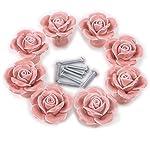 Aketek 8PCS Ceramic Vintage Rose Floral Door Knobs Handle Drawer Kitchen Screw -White/Pink