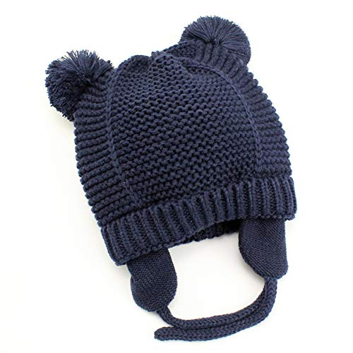 Baby Beanie Earflaps Hat - Infant Toddler Girls Boys Soft Warm Knit Hat Kids Winter Hat with Fleece Lining (Dark Blue,S) by Exemaba