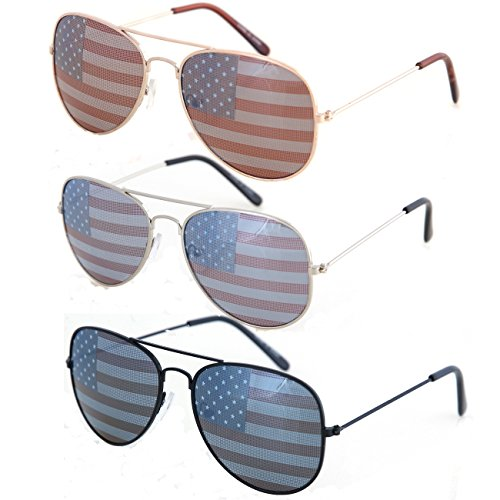 - Shaderz USA America Aviator Sunglasses - Great Accesory for 4th of July - Combo of 3
