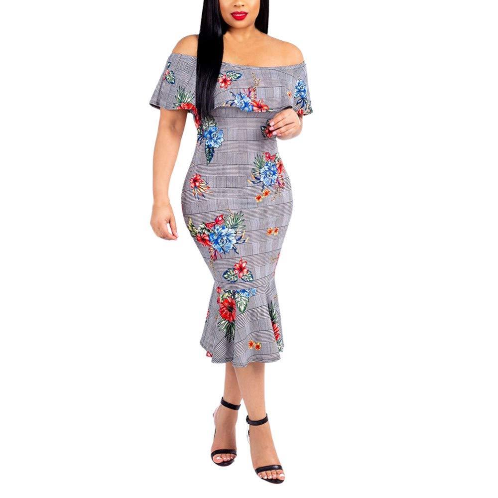 JESPER Women Sexy Slash Neck Stripe Printing Tighten Package Hip Mini Dress US 0/2 Blue