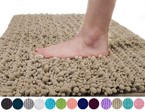 Yimobra Original Luxury Shaggy Bath Mat, Super Absorbent Water, Non-Slip, Machine-Washable, Soft and Cozy, Thick Modern for Bathroom Bedroom (44.1 X 24 Inches, Camel)