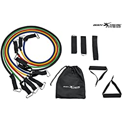 Body Xtreme Fitness Resistance Band Set, Free Water Proof Carring Case, Heavy Duty with Door Anchor, Ankle Strap, Foam Handles, Physical Therapy, Home Gym Work Outs, Yoga Fitness, Increase Flexibility