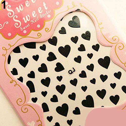 Acamifashion Love Heart Design Nail Art Sticker Decal Manicure Nail Tip Decoration - Black ()