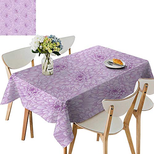 UHOO2018 Polyester Tablecloth Violet Like Star Sign Single Narrow Outer Ring Florets Lilac Square/Rectangle Spillproof Tablecloth,52 x 108inch