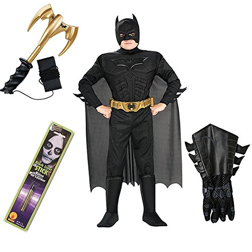 Batman TDKR Kids Costume with Gauntlets, Makeup Stick, Grappling Hook (M) (Grappling Batman Hook Black)