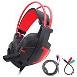 Gaming Headset for Laptop, PC, PS4, Xbox One Controller, SourceTon Noise Isolating over Ear Headphone with Microphone and Volume Control, Soft Memory Earmuffs – Black + Red