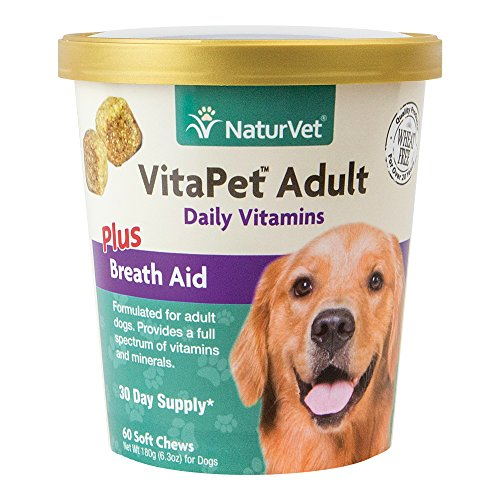 NaturVet VitaPet Adult Daily Vitamins Plus Breath Aid for Adult Dogs, 60 ct Soft Chews , Made in USA