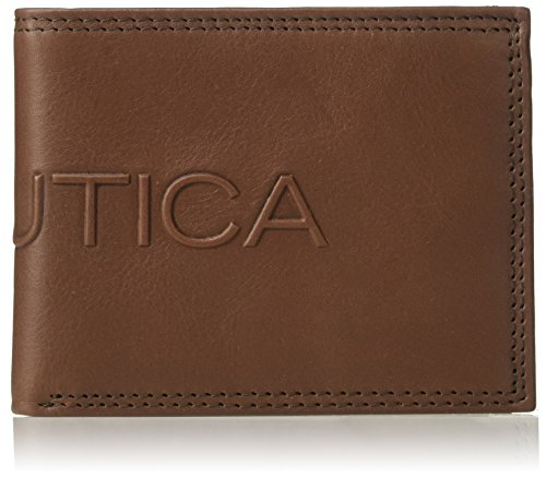Nautica Men's RFID Blocking Leather Slim Passcase Wallet, cognac, One Size