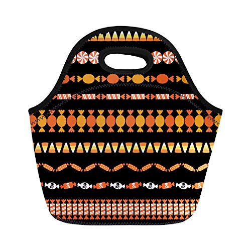 Semtomn Lunch Bags Clipart Corn Halloween Candy Border Patterns Autumn Edge Holiday Neoprene Lunch Bag Lunchbox Tote Bag Portable Picnic Bag Cooler Bag