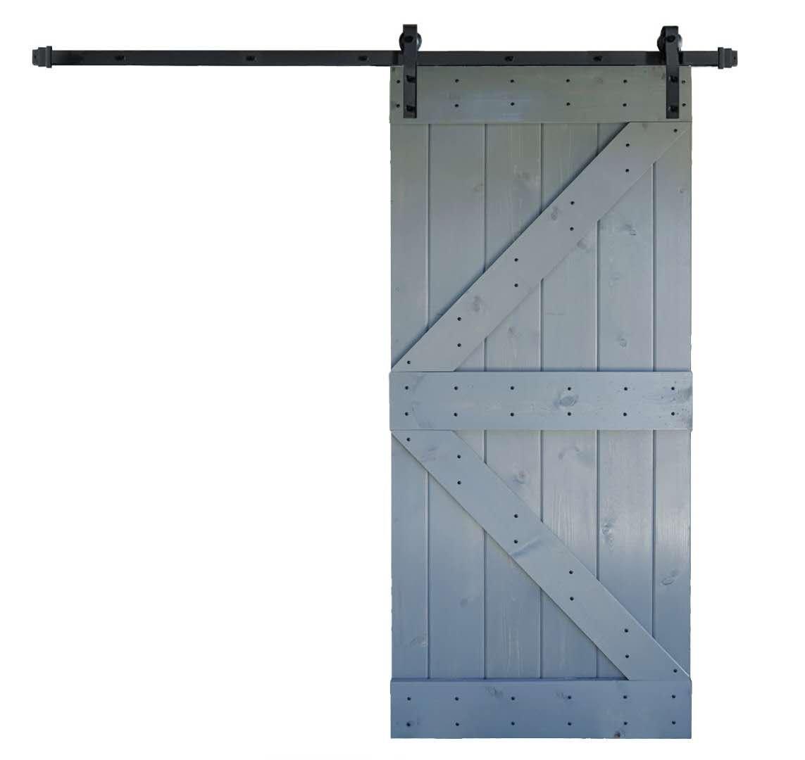 36inX84in K Series DIY Solid Interior Barn Knotty Wood Painted Door WELLHOME 6.6 FT Sliding Hardware Kit black