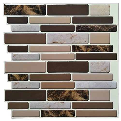 Art3d Kitchen Backsplash Peel and Stick 6Pack of 12 inch x 12 inch Brown Marble