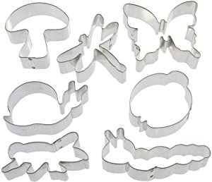 Insect Cookie Cutters 7 Pc Set HS0439-3.5 in Dragonfly, 4.25 in Caterpillar, 3 in Ladybug, 4.5 in Butterfly, 3.5 in Grasshopper, 4.25 in Snail, 3.25 in Mushroom, Recipe - Foose Cookie Cutters - USA