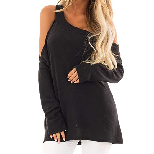 b6479d351fe43 Hemlock Women Cold Shoulder Tops Blouse Oblique Collar Vest Sexy Backless  Pullover Teen Shirt Long Sleeve