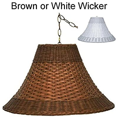 "Sizes 16-20""W (Brown or White) PLUG IN Wicker Rattan Swag Lamp Pendant Light Chandelier Hanging Lamp Shade"