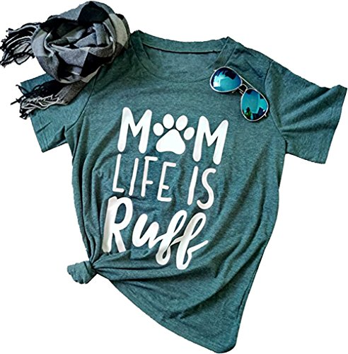 Mom Life is Ruff T-Shirt Women's Funny Dog Paw O Neck Short Sleeve Tops Blouse Size US L/Tag XL
