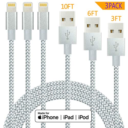 IDiSON 4Pack 3ft Apple MFi Certified iPhone Lightning Cable Braided Nylon Fast Charger Cable Compatible iPhone 11 X XR XS MAX 8 Plus 7 6s 5s 5c Air iPad Mini iPod (Gray+White)