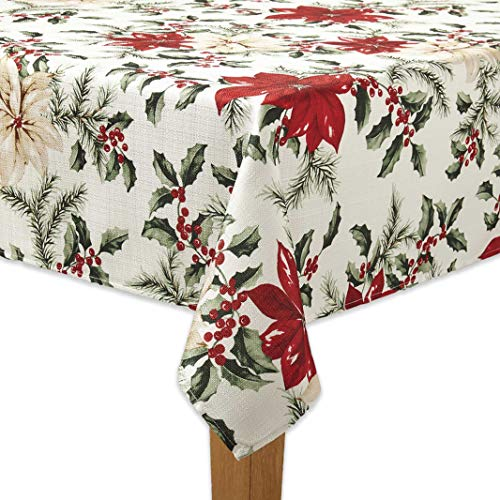 The Big One Christmas Holiday Fabric Tablecloth Red Poinsettia and Green Holly Berry Print 60