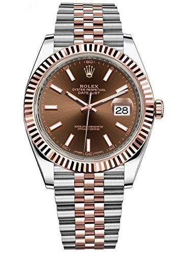 Rolex Datejust 41 Stainless Steel & Everose Gold Jubilee Watch Chocolate Dial
