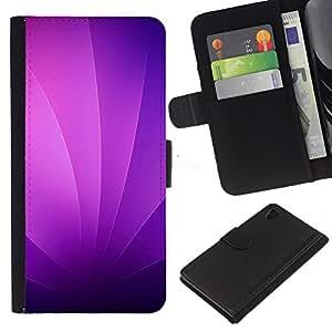 JackGot ( Remolinos púrpuras ) Sony Xperia Z4v / Sony Xperia Z4 / E6508 la tarjeta de Crédito Slots PU Funda de cuero Monedero caso cubierta de piel