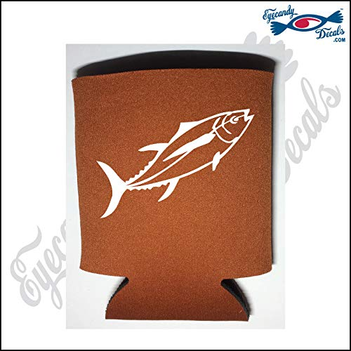 Eyecandy Decals Fish Tuna White on a Burnt Orange Pocket FOLD CAN Cooler