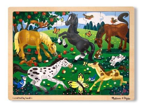 Frolicking Horses 48-Piece Wooden Jigsaw Puzzle 38010 FREE Melissa /& Doug Scratch Art Mini-Pad Bundle