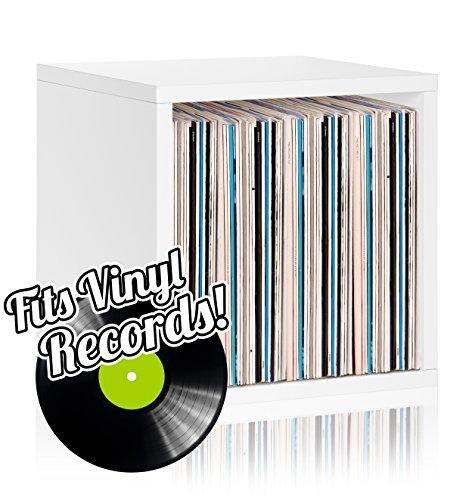 (Vinyl Record Storage Cube Extra Large Stackable LP Record Album Shelf, White )