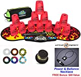 Speed Stacks Combo Set 'The Works'': 12 NEON PINK 4'' Cups, Black Flame Gen 3 Mat, G4 Pro Timer, Cup Keeper, Stem, Gear Bag + Active Energy Necklace