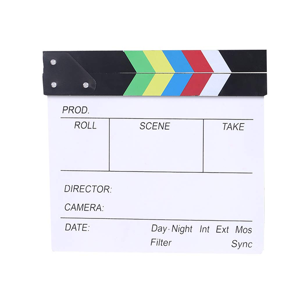 Wooden 11.8x10.6inch/30x27cm Director's Film Clapboard Cut Action Scene Clapper Board Slate with Color Sticks