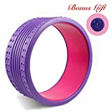 Yoga Wheel - Strongest Most Comfortable Dharma Yoga Prop Wheel for Yoga Poses, Perfect Roller For Stretching, Increasing Flexibility and Improving Backbends (Purple Pink - Massage)