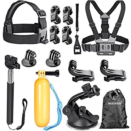 Neewer 16-in-1 Sport Accessory Kit for GoPro Hero4 Session Hero 4/3+/3/2/1, Sj4000/5000/6000/7000 Sony Action Camera Hdr-as15 As20 As30v AS50 As100v As200v Hdr-az1 Mini Sony Fdr-x1000v (Sony As30v Accessories)