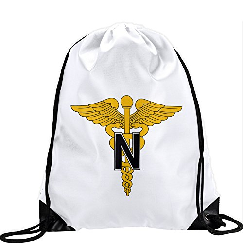 Large Drawstring Bag with US Army Nurse Corps, branch insignia - Long lasting vibrant image by ExpressItBest