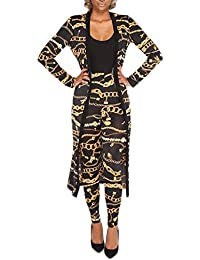 Blansdi Women Metal Chain Print Long Cardigan Blouse Legging Pants 2 Piece Suit Set Outfits