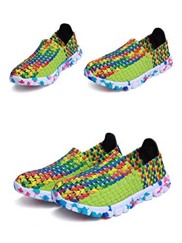 Anguang Mujer Tejido Casual Pisos Zapatos Elástico Deporte Ponerse Zapatilla Cómodo y Respirable Sandalias Verde