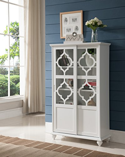 White Wood Curio Bookcase Display Storage Cabinet with Glass Sliding Doors ()