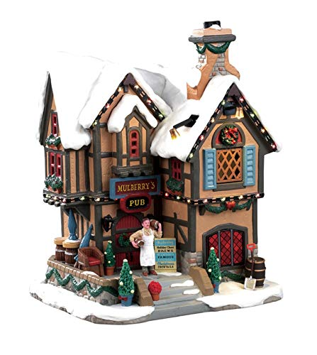 Lemax 95469 Mulberry's Pub, New 2019 Caddington Village Collection, Porcelain Decorated Miniature Lighted Building, X'mas Decor/Gift/Collectible, On/Off Switch, Adaptor Included, 8.07
