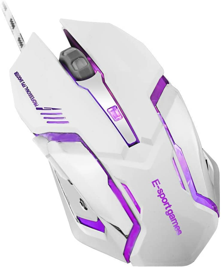 Wired Gaming Mouse 6 Programmable Buttons 4 Adjustable DPI Levels 4-Color Circular Breathing LED Lights for Games and Office