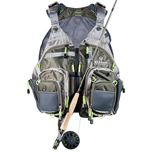 Elkton Outdoors Lightweight Universal Fit Fly Fishing Vest Backpack with Fly Storage Compartments and Rod Holders