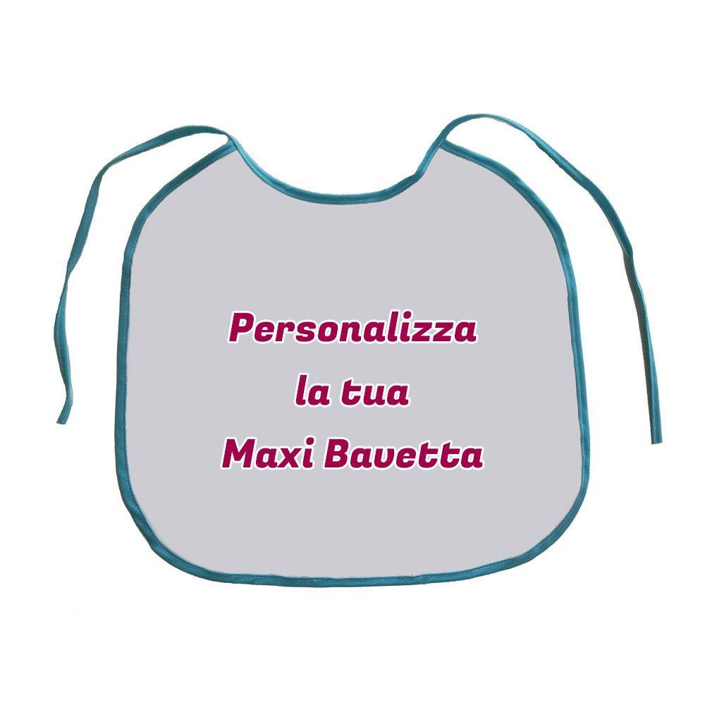 Altra Marca Bavaglione Maxi Bavettone Personalizzato con Foto Testo e Immagini Bavetta Grande per Compleanni Party e Scherzi per Feste - Bordo Azzurro Altro Produttore